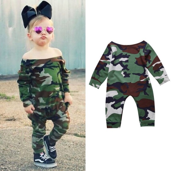 One Pieces  Girls Jumpsuit Camo Outfit For Girls -9114